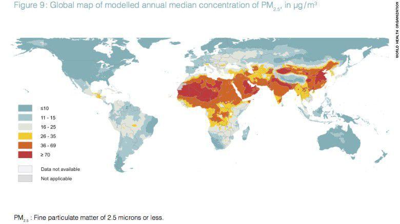 Bản đồ thể hiện chỉ số chất lượng không khí vừa được WHO công bố