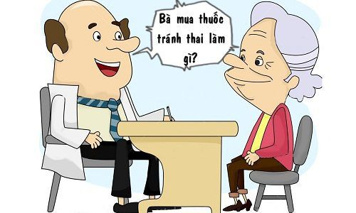Illustration of an Old Lady having a Consultation with her Doctor
